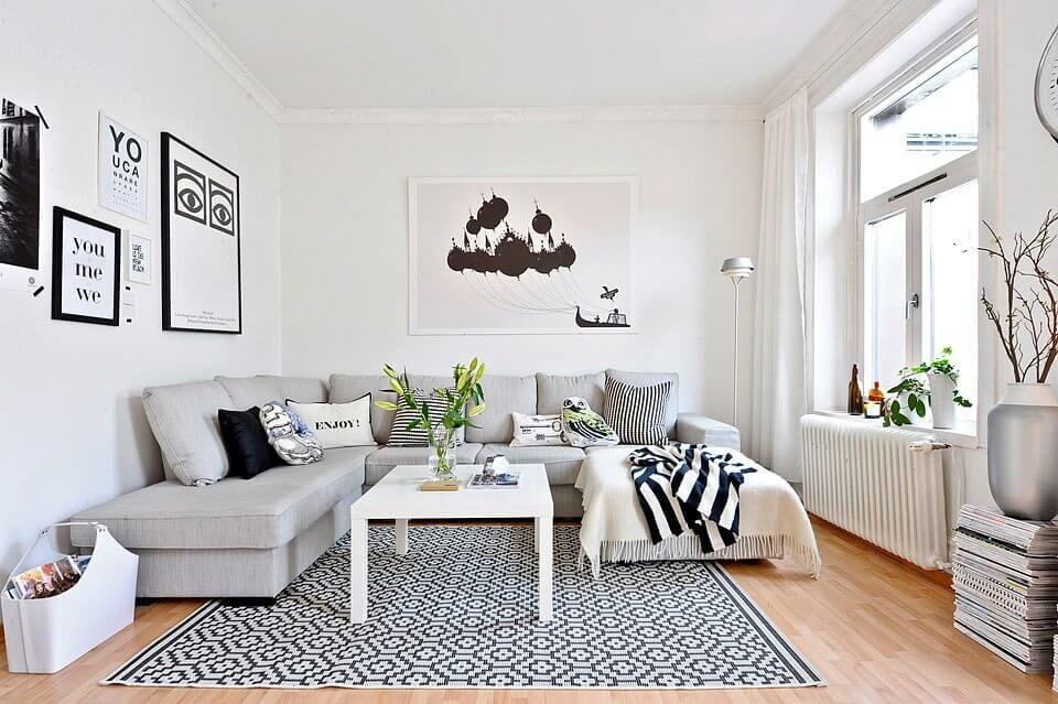 Белая комната в скандинавском стиле