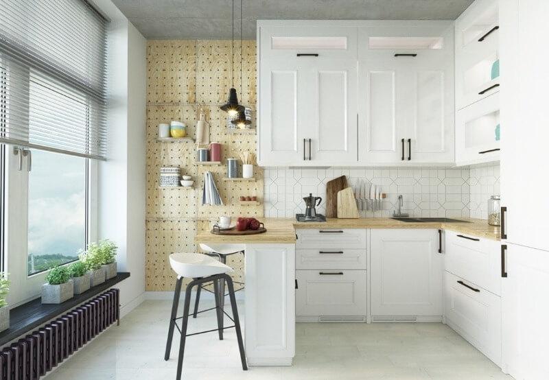 белые фасады кухни в скандинавском стиле