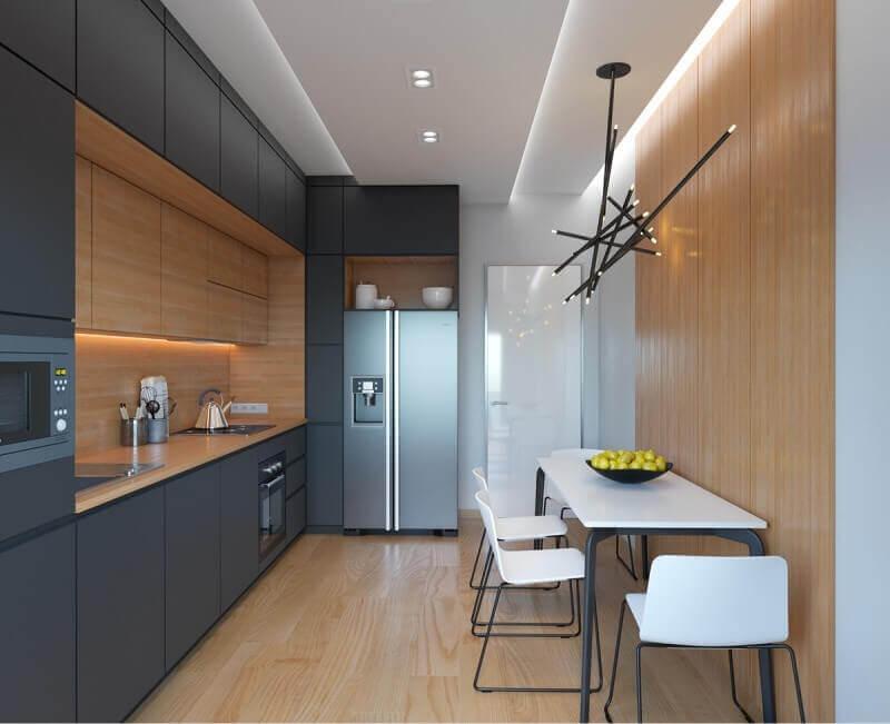 Гладкие фасады на кухне в стиле хай-тек