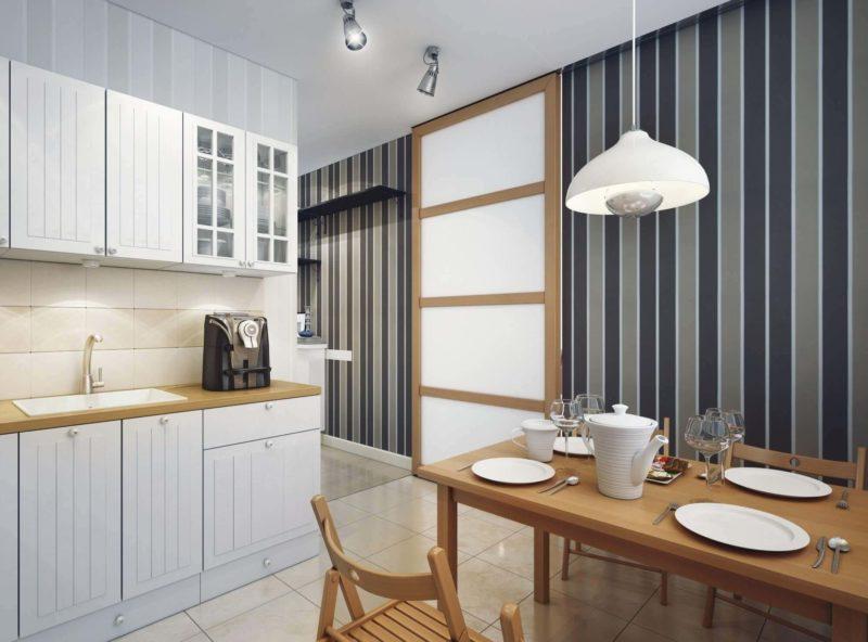 Стильні шпалери в інтер'єрі кухні