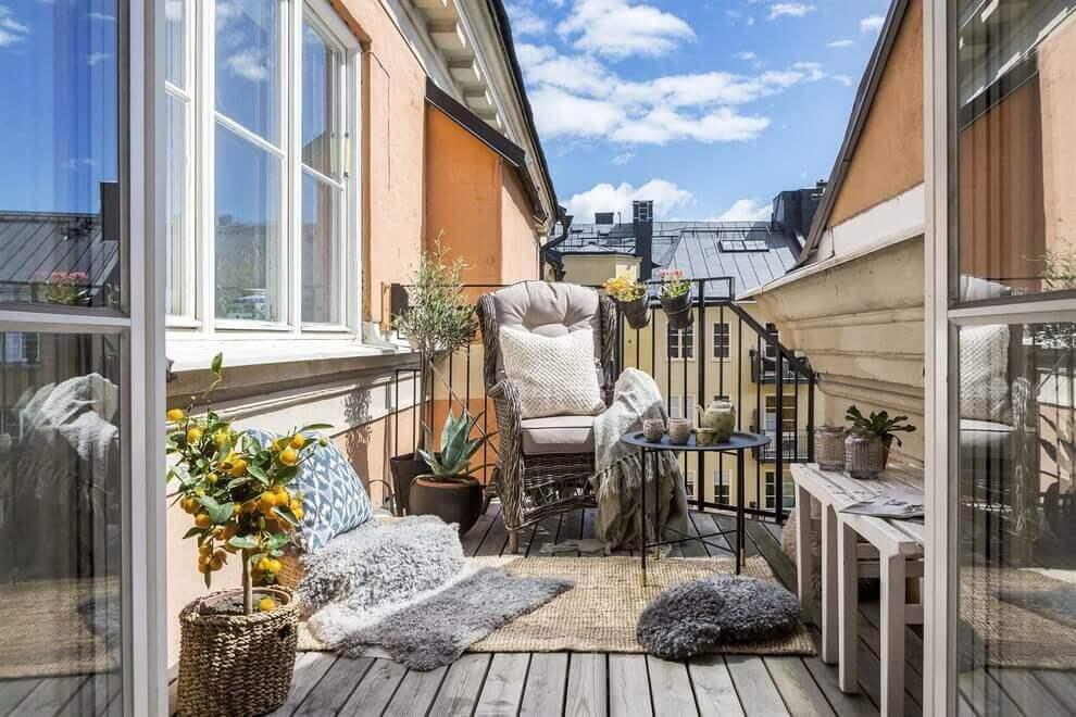 Декора балкона в скандинавском стиле