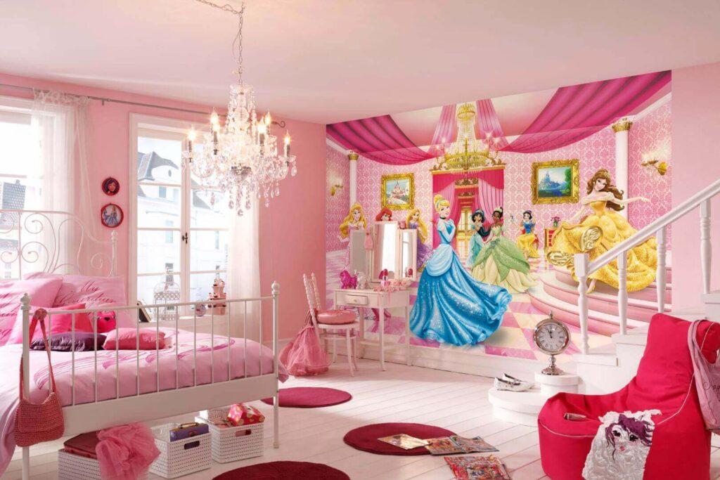 Фотообои со сказочными принцессами в интерьере детской