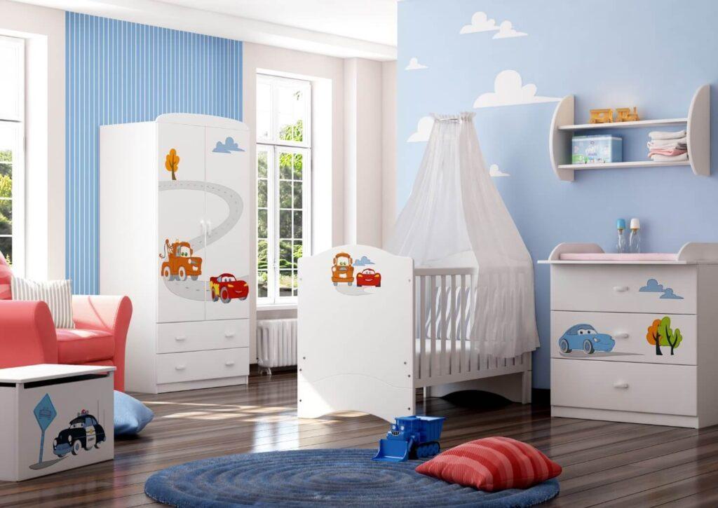 голубые обои для детской комнаты