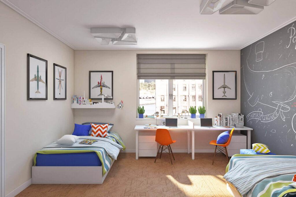 Нейтральное оформление комнаты для разнополых детей