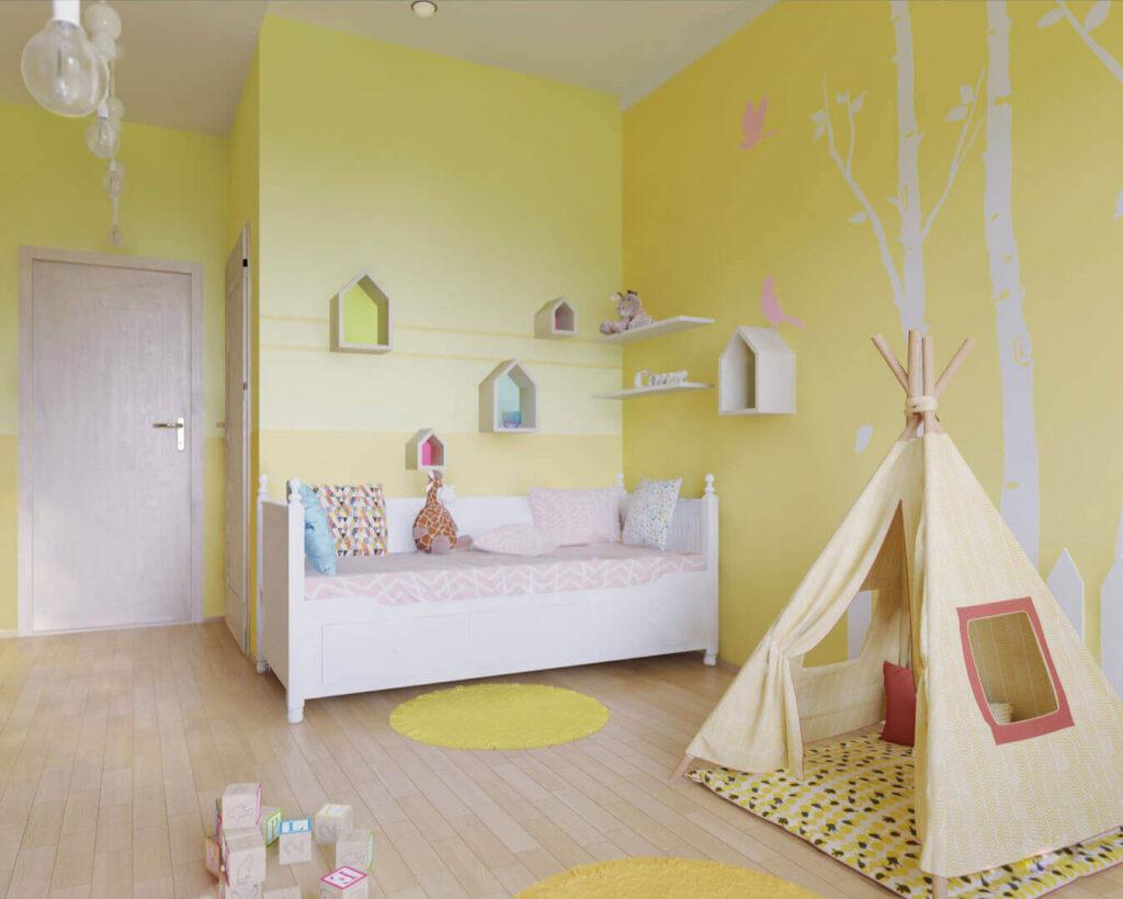 Желтые обои в детской комнате