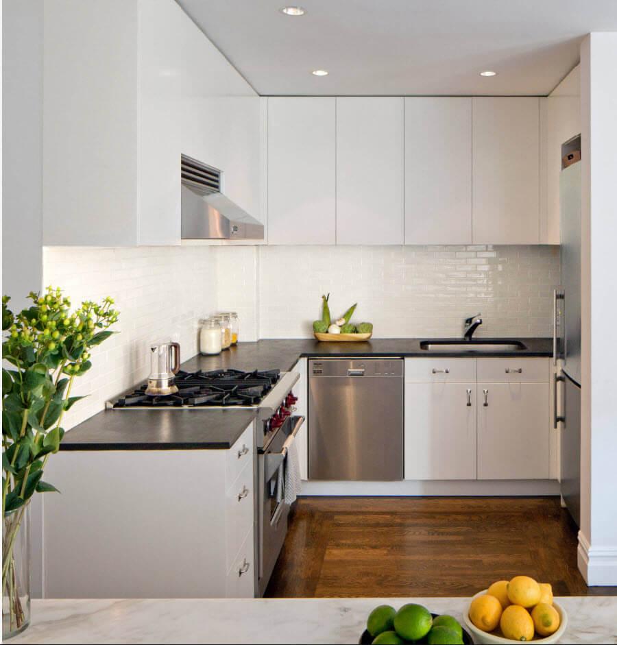 угловая красивая маленькая кухня