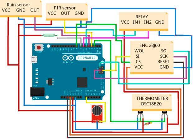 схема подключения к платформе Arduino