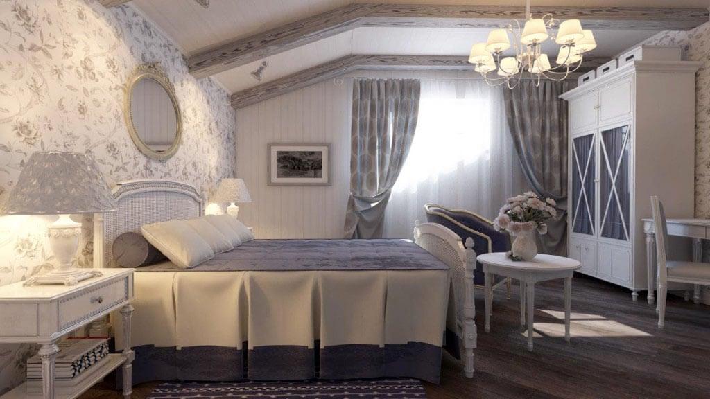 стены в стиле прованс спальня