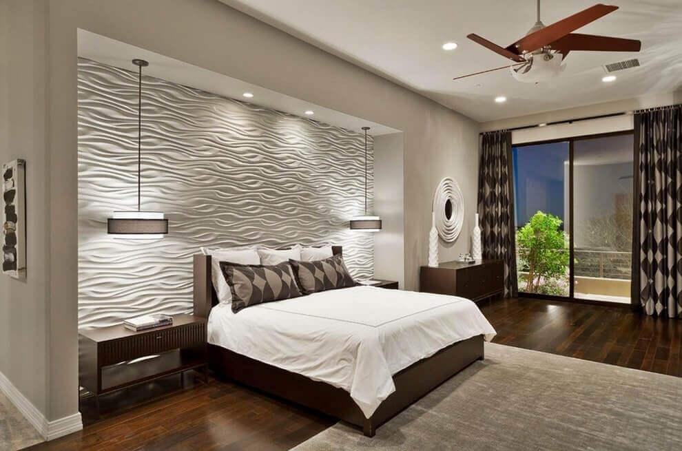 3D панель из гипса в интерьере спальни