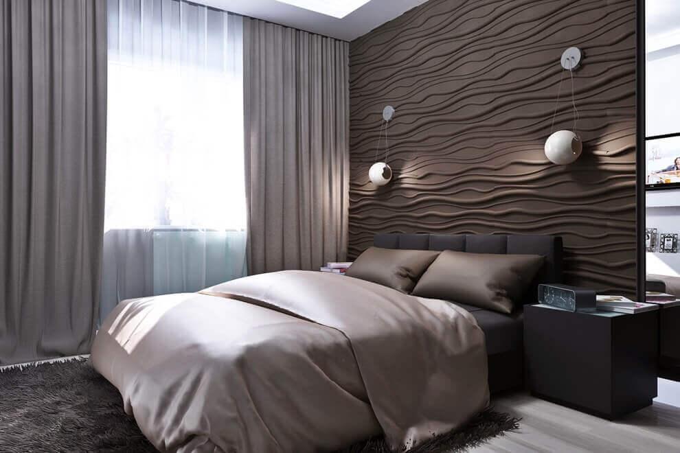 Акцентная стена в спальне из 3д панелей