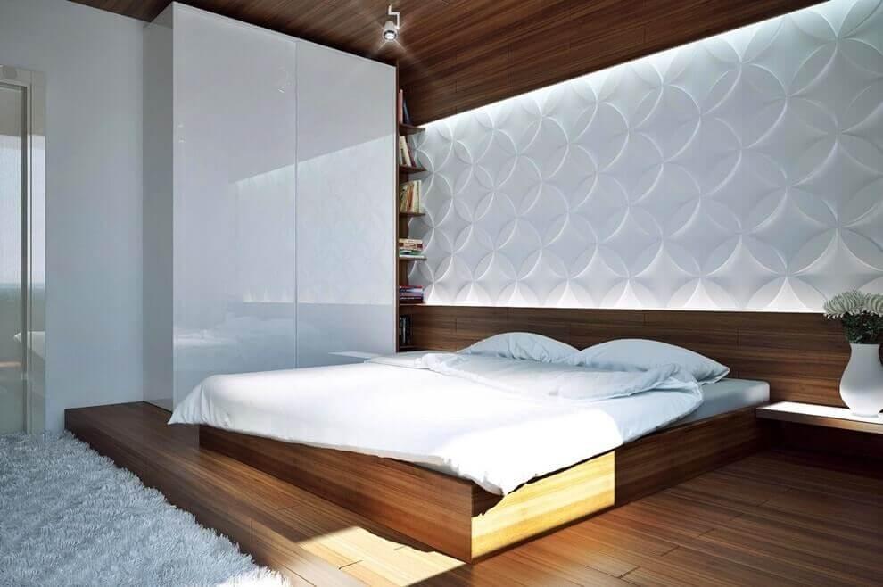 Светлая трехмерная панель в интерьере спальни
