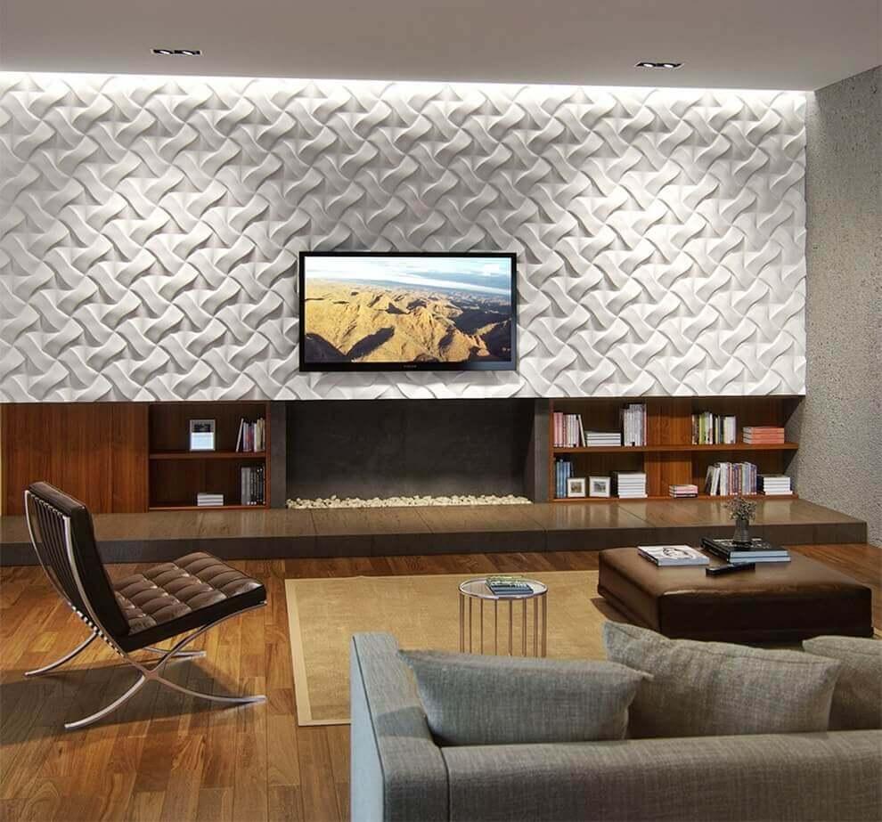 Оригинальное оформление гостиной трехмерными панелями