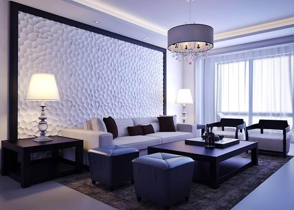 Нестандартные узоры на 3D панели – изюминка гостиной