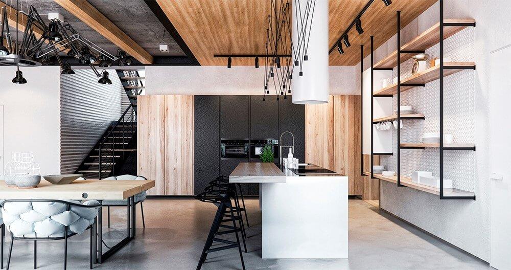 Баланс дерева и металла в интерьере кухни