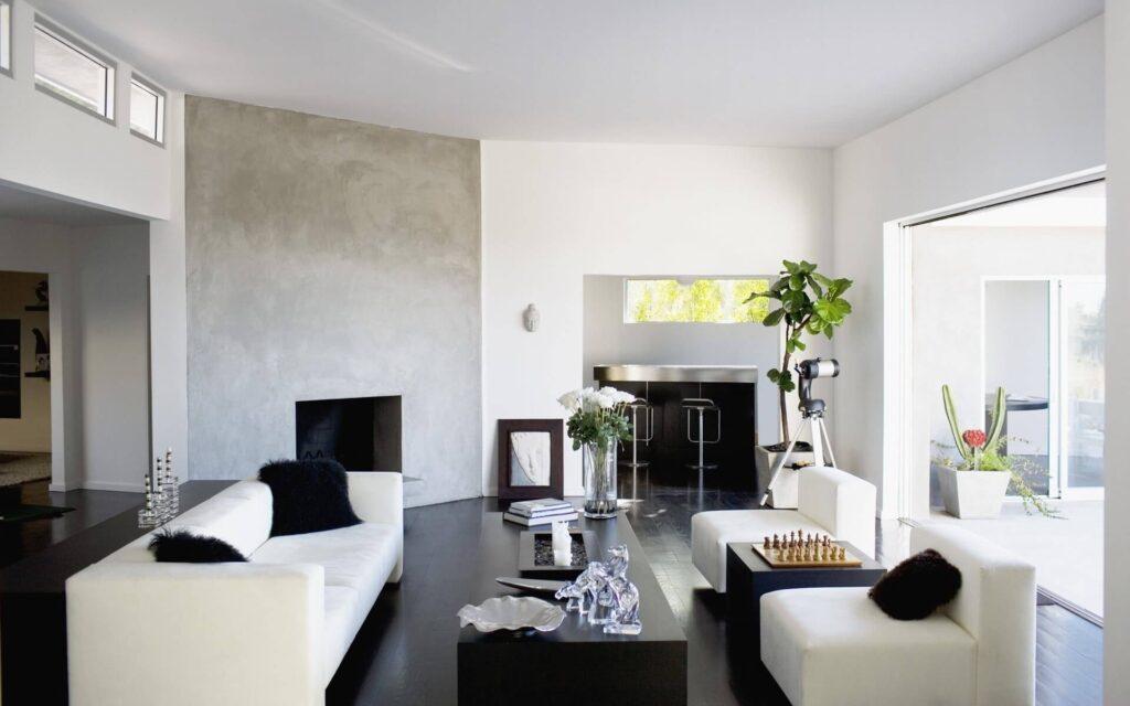 Черный ламинат в оформлении гостиной
