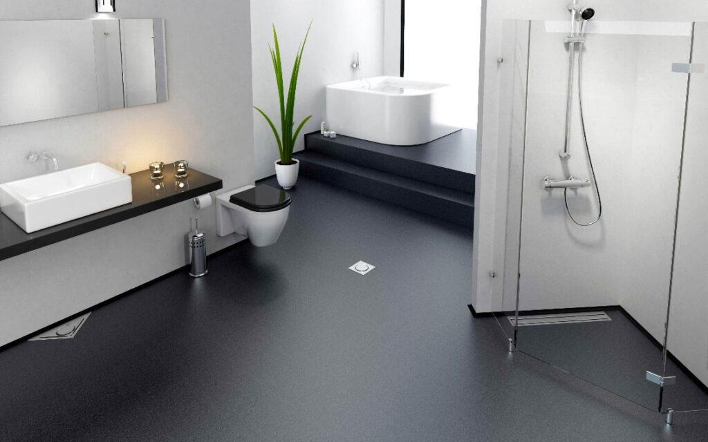Черный наливной пол в интерьере ванной комнаты