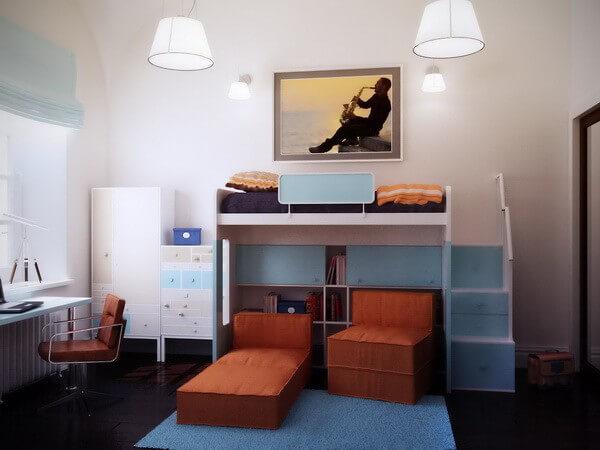 Детская комната с темным напольным покрытием