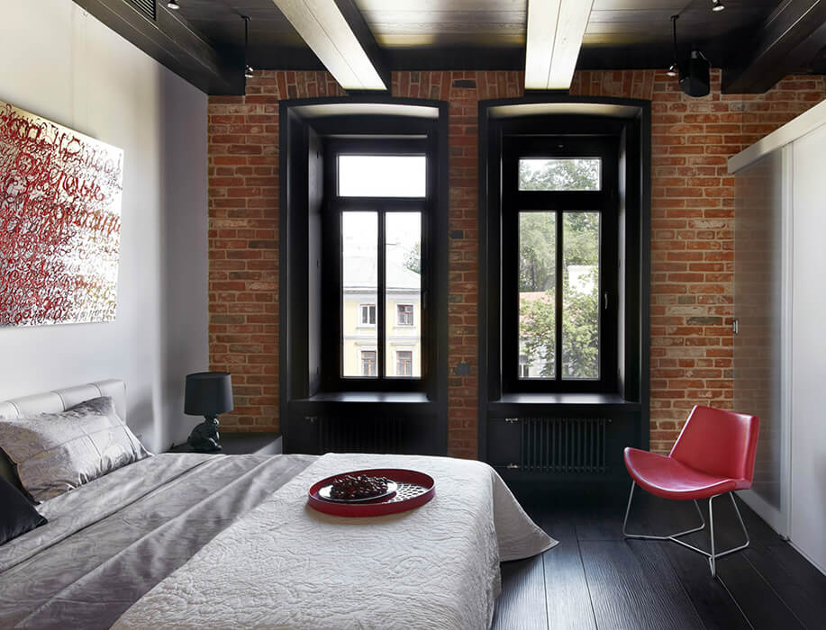 Черный пол в спальне в стиле лофт