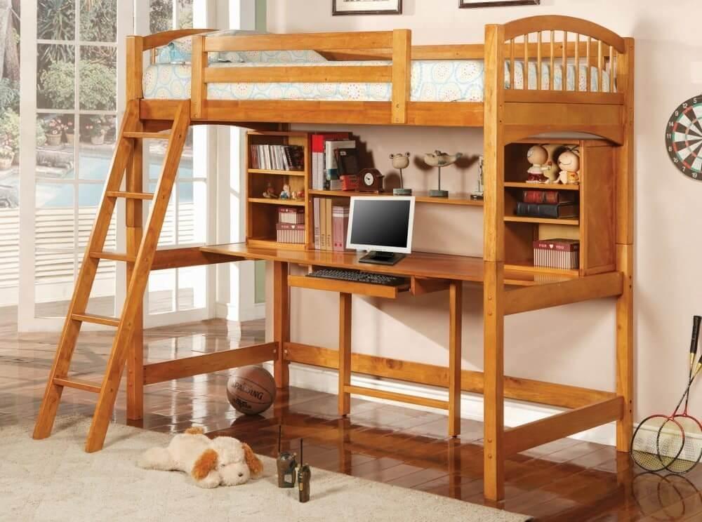 Кровать-чердак с учебным столом
