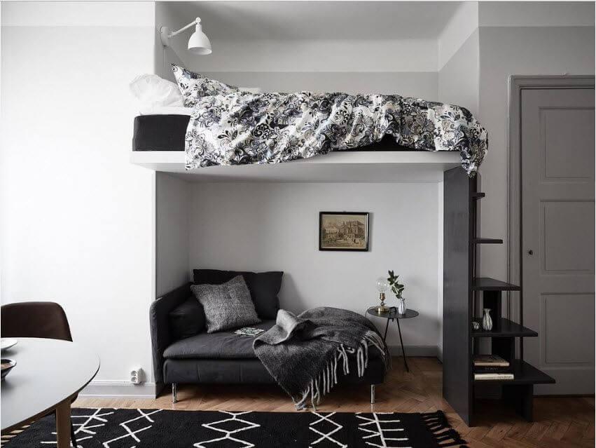 Кровать-чердак с зоной для отдыха