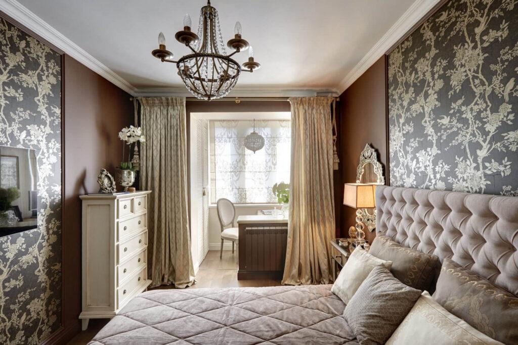 Зонирование спальни на зону для сна и работы