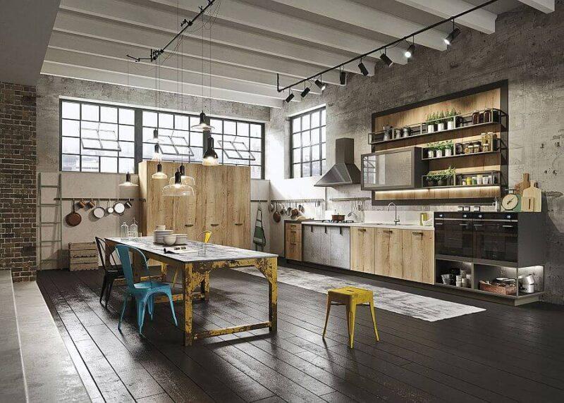 Индустриальный лофт в интерьере кухни