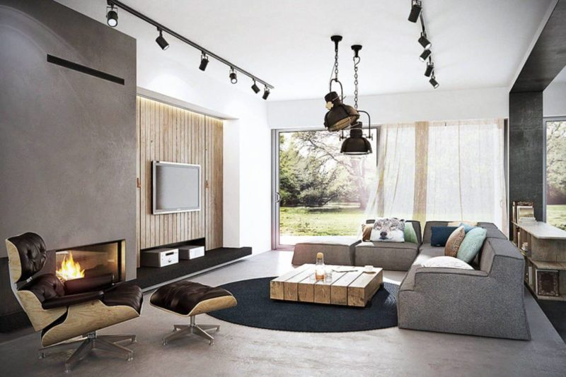 Освещение комнаты в стиле лофт