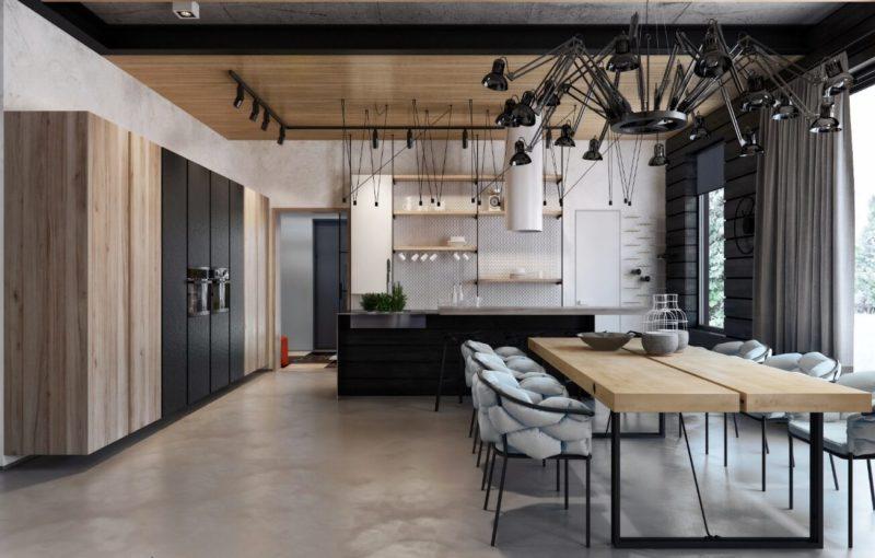 Светло-серая кухня в стиле лофт