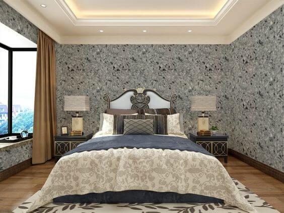 Оздоблення стін спальні рідкими шпалерами