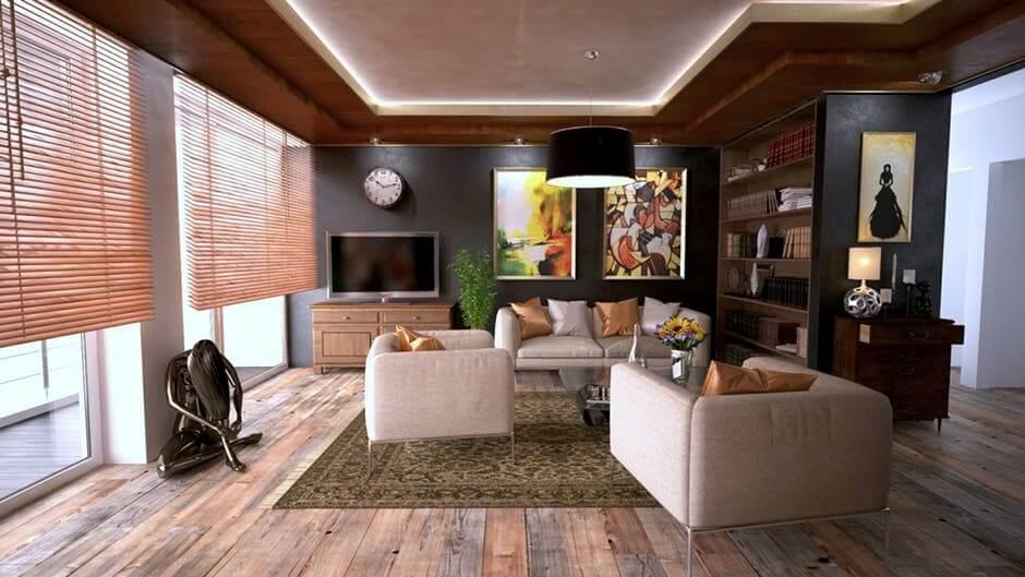 напольного покрытия в гостиной в стиле контемпорари