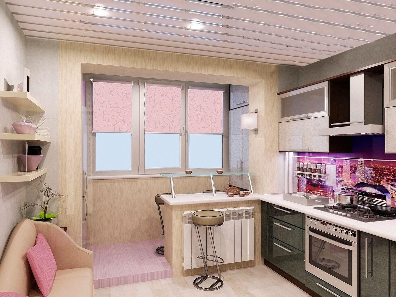 барна стійка кухня-балкон