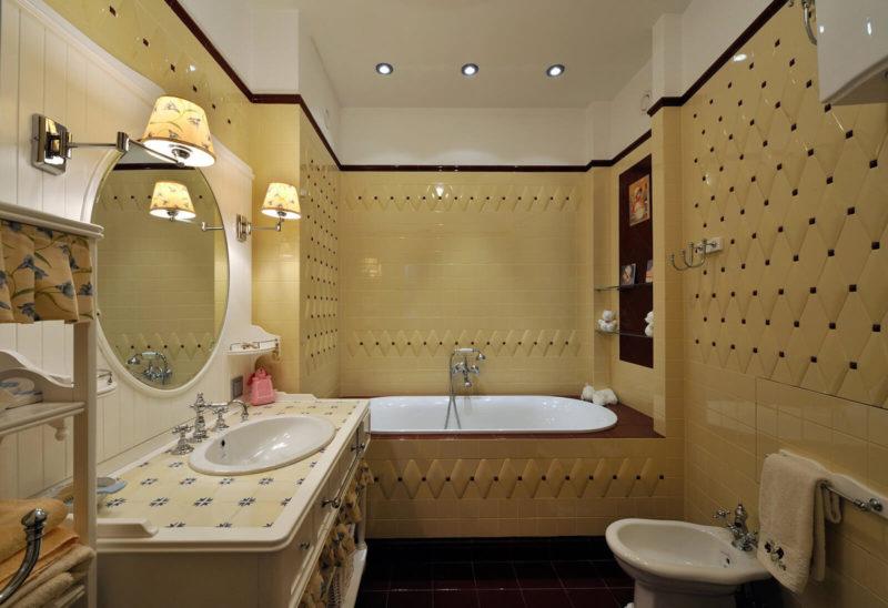 бежевые цвета в ванной классический стиль