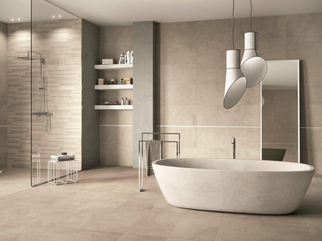 бежевий керамограніт у ванній