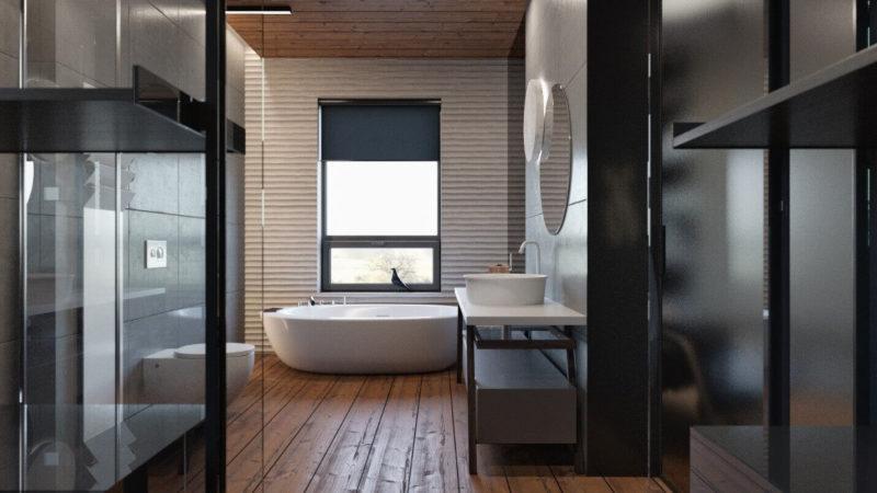 Дизайн ванной комнаты с деревянным полом