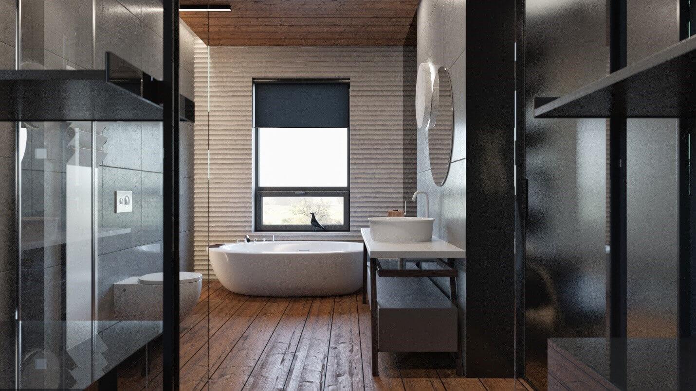 Дизайн ванної кімнати з дерев'яною підлогою