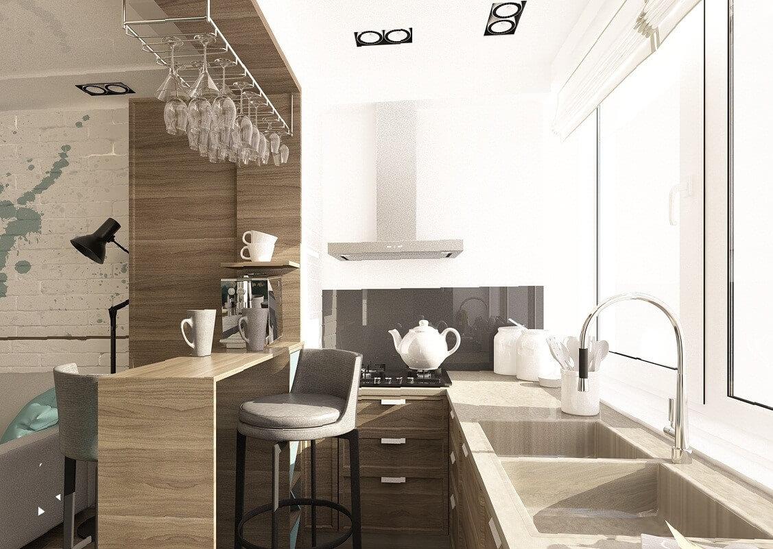 Дизайн кухни на маленьком балконе