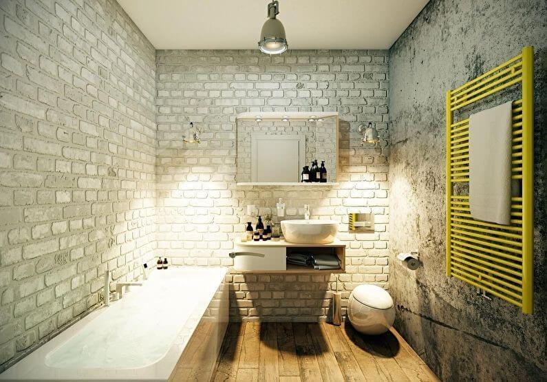 дизайн маленькой ванной в стиле лофт