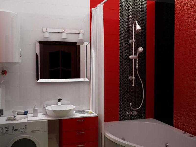 Дизайн ванной в красно-черном цвете