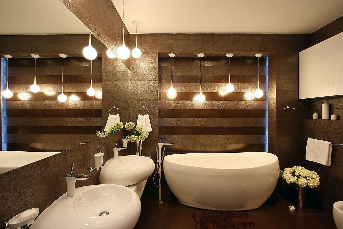Дизайн ванної кімнати в коричневому кольорі