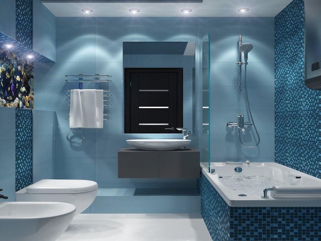 Дизайн ванної кімнати в синьому кольорі