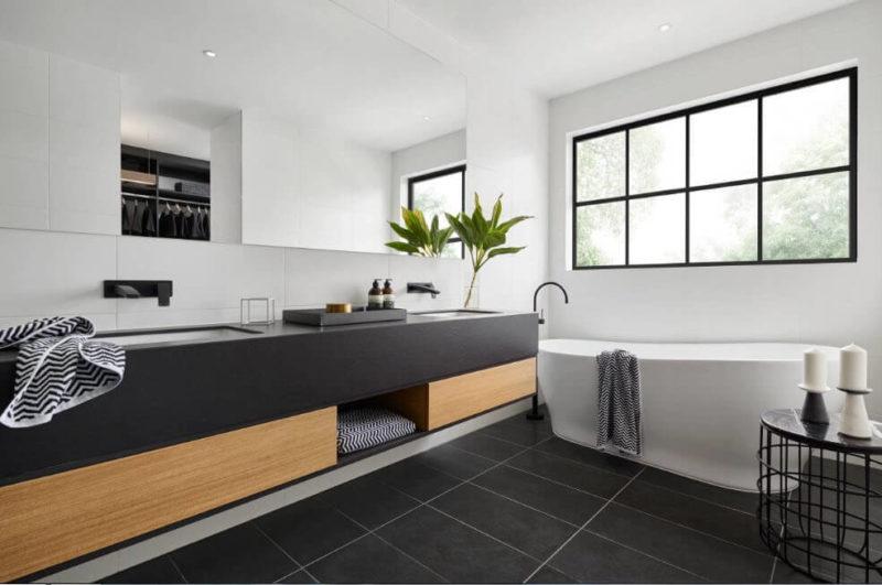 пол из керамогранита в ванной