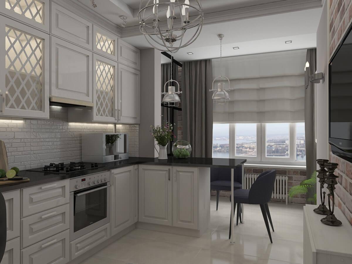 Классическая отделка кухни на балконе