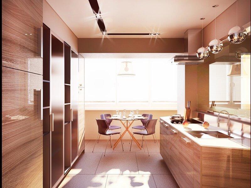 освещение кухни на балконе