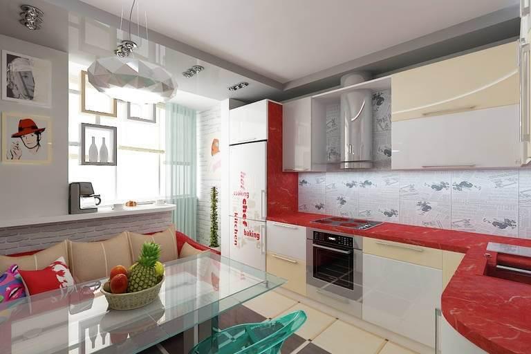 освещение на кухне-балконе