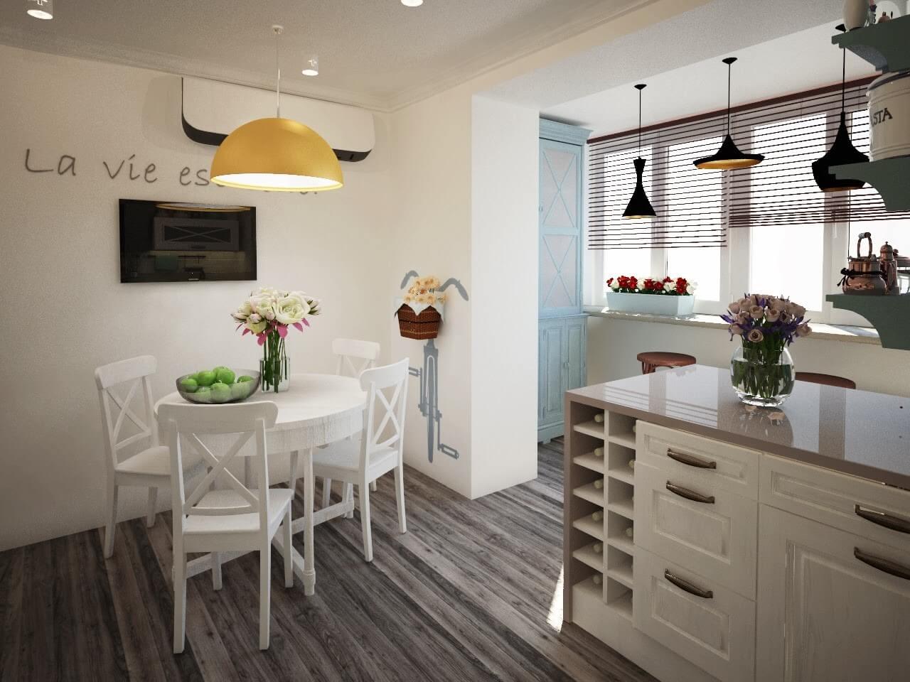 Водостойкий ламинат в интерьере кухни на балконе