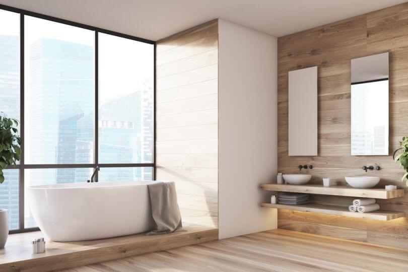отделка стен ванной натуральное дерево