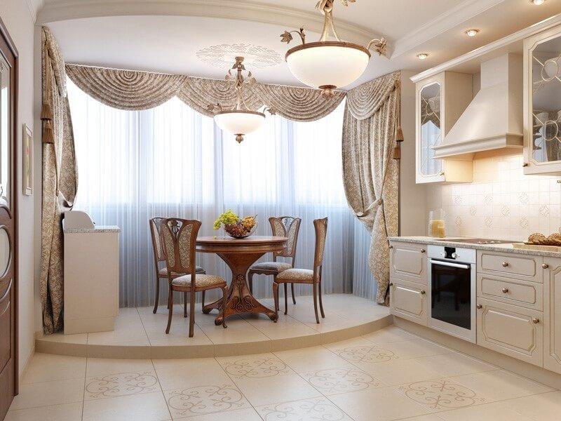 обеденный стол на кухне-балконе