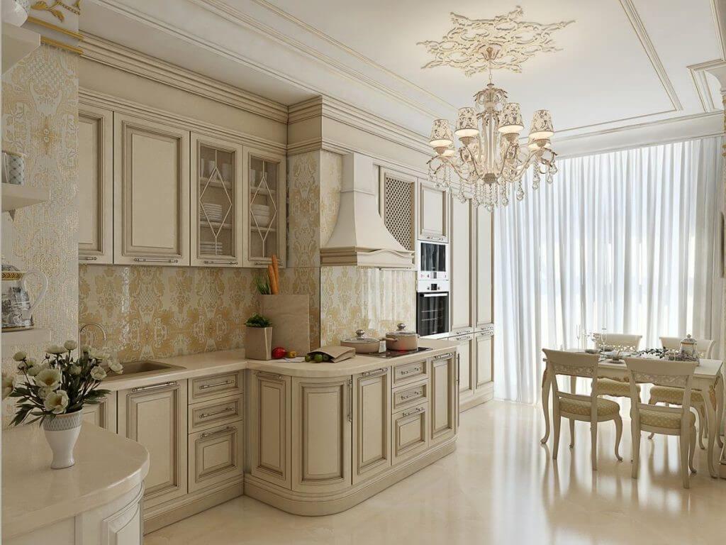 бежеві шпалери на кухні