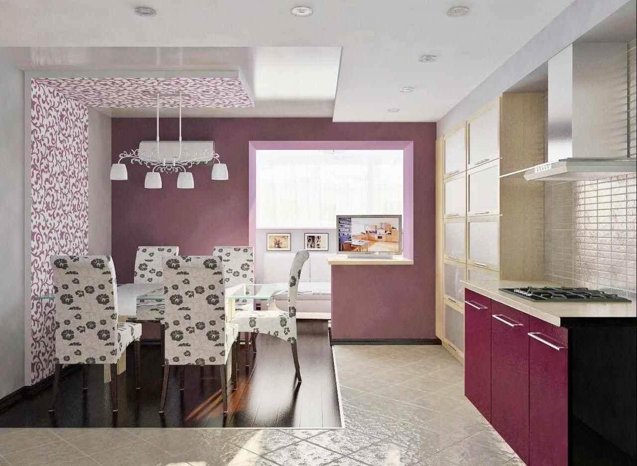 фіолетові шпалери на кухні