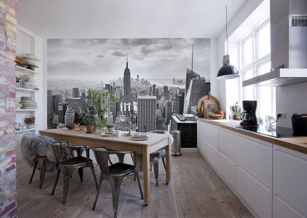 фотообои для кухни расширяющие пространство
